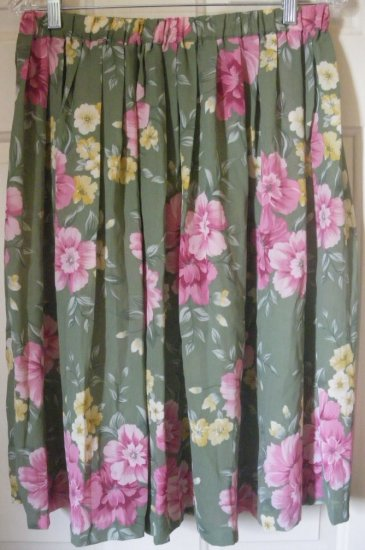 ALFRED DUNNER Green Below-Knee Floral Print PLEATED Skirt size 14P