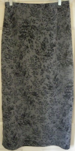 KATHIE LEE COLLECTION Long Gray FLORAL PRINT Skirt size 14