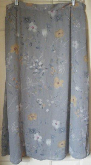 SAG HARBOR Long Gray FLORAL PRINT Skirt size 20W