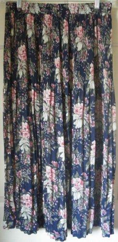 SAG HARBOR Navy Blue Long PLEATED Floral Print Skirt size M