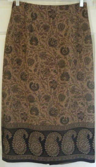 BRIGGS Tan Long STRETCH Print Skirt size 8P