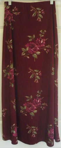 JACLYN SMITH Long Burgundy FLORAL PRINT Skirt size S