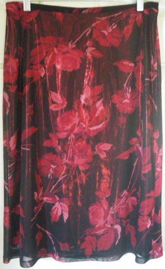 EXPRESS Black Below-Knee FLORAL PRINT Skirt size M
