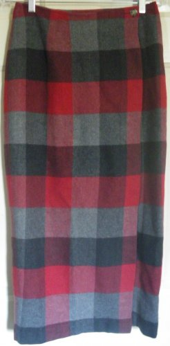 OLD NAVY Gray Mid-Calf WRAP PLAID Skirt size 4