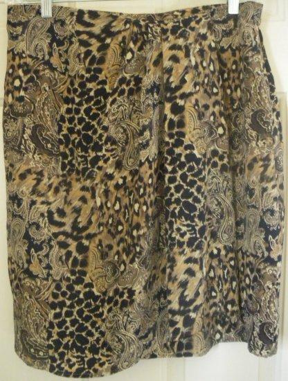 JACQUELINE FERRAR Brown Above-Knee FAUX-WRAP SILK Print Skirt size 16 *NWOT*