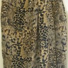 JACQUELINE FERRAR Brown Above-Knee FAUX-WRAP SILK Print Skirt size 16 *NWOT*
