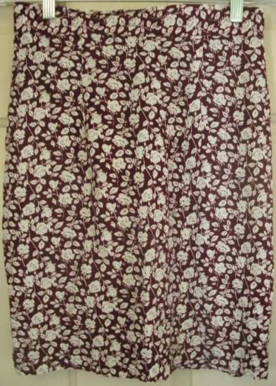 RAMPAGE Burgundy Above-Knee FLORAL PRINT Skirt size 7