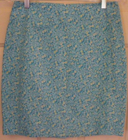 A. BYER Cyan Mid-Thigh STRETCH Floral Print Skirt size 9