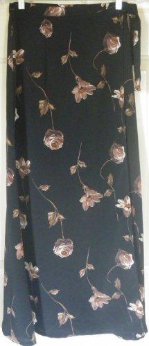 COUNTY SEAT Long Black Floral Print WRAP Skirt size 3/4
