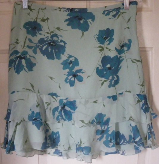 THE LIMITED Green Mid-thigh TIERED SILK Print Skirt size 6