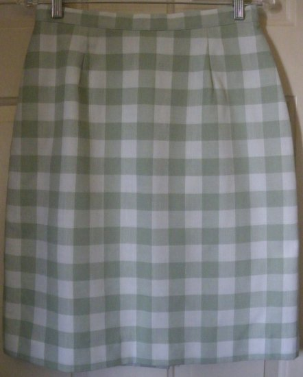 BENTLEY Green CHECKERED Knee-Length Skirt size 10