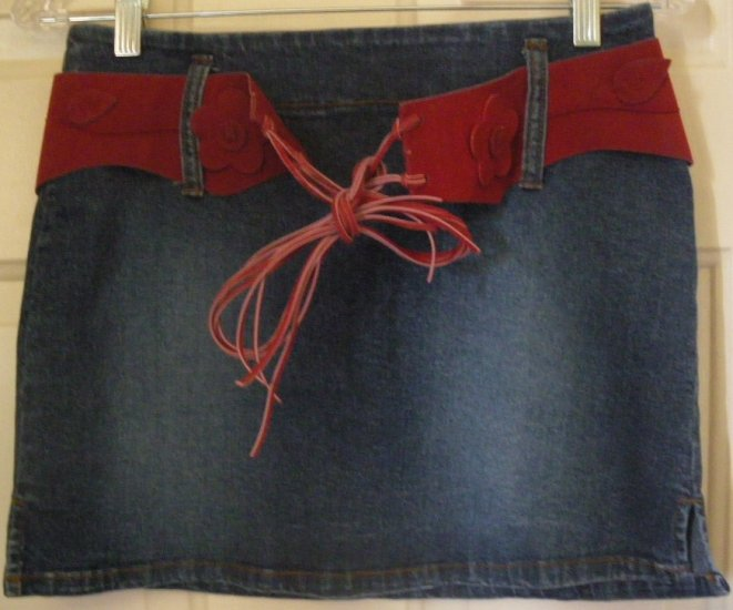 BLUE ASPHALT Blue STRETCH BELTED DENIM Mini Skirt size 5