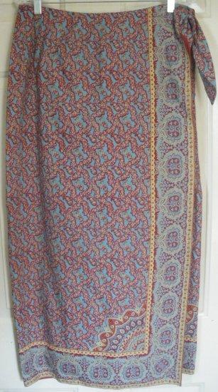 RALPH LAUREN Long Teal WRAP Print Skirt size 12