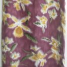 KATE HILL Long Maroon SILK/LINEN WRAP Print Skirt size L *NWT*