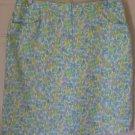 LIZ CLAIBORNE White Blue Green Above-Knee FLORAL PRINT Skirt size 16
