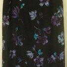 PETITE SOPHISTICATE Long Black FLORAL PRINT SILK Skirt size 0