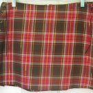 POWDER BLU Red & Brown Mid-Thigh PLAID Skirt size 11