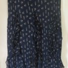 RALPH LAUREN Long Navy Blue RUFFLED SILK Print Skirt size L