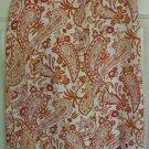 WILLI SMITH Orange Knee-Length LINEN Print Skirt size 4