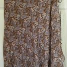 ANGIE Brown Knee-Length FAUX WRAP PAISLEY PRINT Skirt size M