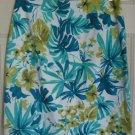 JKLA White & Teal Blue Knee-Length STRETCH HAWAIIAN PRINT Skirt size 12