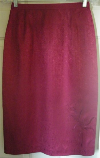 ADRIANNA PAPELL Red-Violet Below-Knee SILK Pencil Skirt size 6