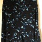 BRIGGS NEW YORK Black Knee-Length STRETCH Floral Prints Godet Skirt size PM