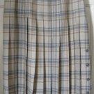 BROOKS BROTHERS Beige & Gray Mid-Calf PLEATED WOOL Plaid Skirt size 8