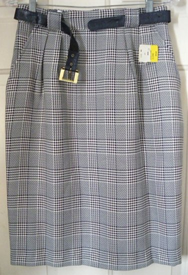 COUNTERPARTS Navy Blue & Cream Knee-Length BELTED Plaid Skirt size 10 *NWT*