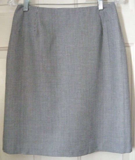 BRIGGS NEW YORK Black & White Above-Knee PLAID Pencil Skirt size 8