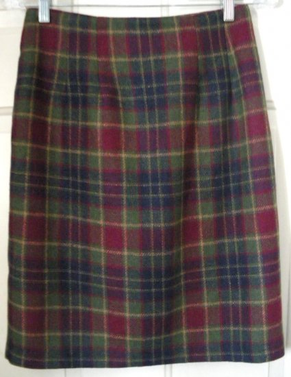SAVANNAH Green & Burgundy Knee-Length Wool Blend PLAID Skirt size 4P