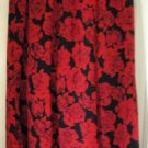 LESLIE FAY Long Black & Red FLORAL PRINT Skirt size 8P