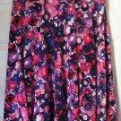 LILY Knee-Length Red Purple Black Print STRETCH PANEL Skirt size M