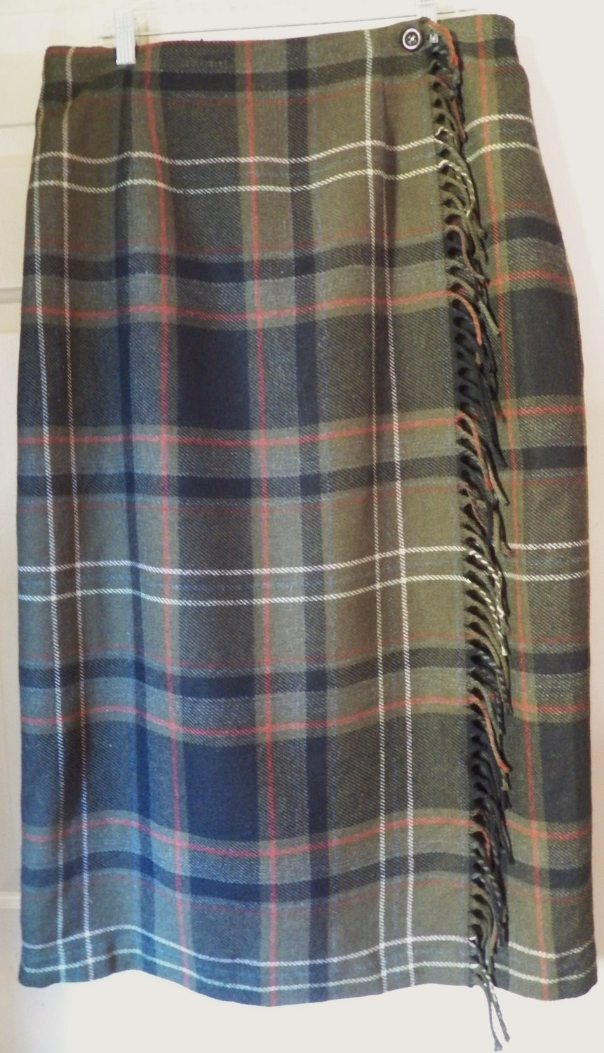 WORTHINGTON Mid-Calf Dark Olive Green Wool Blend FRINGED PLAID WRAP Skirt size 18W