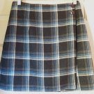 35th & 10th Mid-Thigh Gray Blue White WOOL Blend Plaid Wrap Skirt size 9