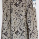 MIZ CALIFORNIA Knee-Length Brown Floral Prints BUTTON DOWN Skirt size M *NWT*
