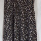 EXPRESS Long Dark Blue Tan Green Floral Prints WRAP Skirt size S