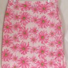 STRETCH G Knee-Length Pink & Green FLORAL PRINTS A-Line Skirt size 14
