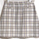LIMITED CHINOS Mid-Thigh Beige Brown Blue PLAID Skirt size 6
