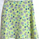 WRAPPER Mid-Thigh Lime Green Floral A-Line Skirt size 3/4