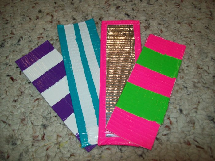 Assorted duct tape bookmarks for Duct tape bookmark ideas