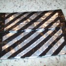 Silver and Black Diagonal Striped Clutch Bag
