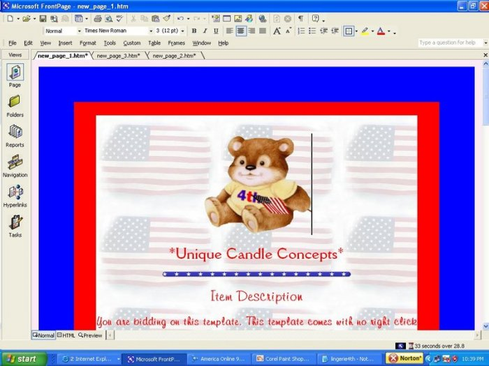 American Bear Fourth of July Template