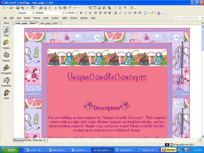 Purses & Glitter Girly Template