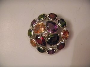 .925 Silver Multi Color CZ Pendant and Earring Set