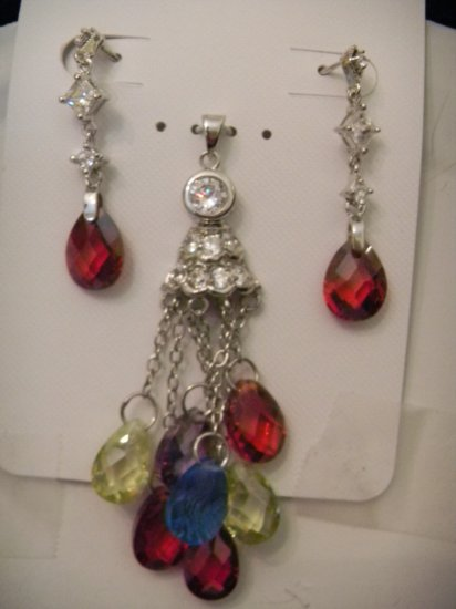 .925 Silver CZ Multi Stone Pendant and Earring set