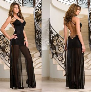 Open Back Slinky Gown Set with Rhinestone Chain Accents  Size M-L