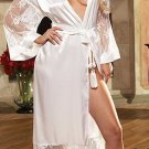 Long Satin Robe Set with Lace Sleeves and Hem Sizes S,M,L