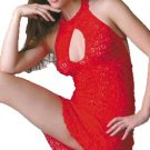 Lace Mini Dress with Front Keyhole. One Size.