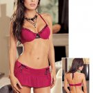 Flock Mesh Bra and Skirt Set. Size M
